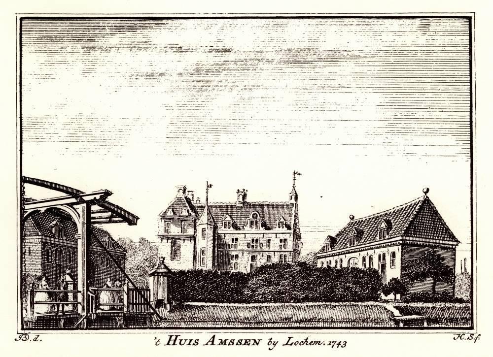 Ampsen in Laren. Tekening Jan de Beijer, gravure Hendrik Spilman (Uit: Het Verheerlykt Nederland, Isaac Tirion, 1745/1774)