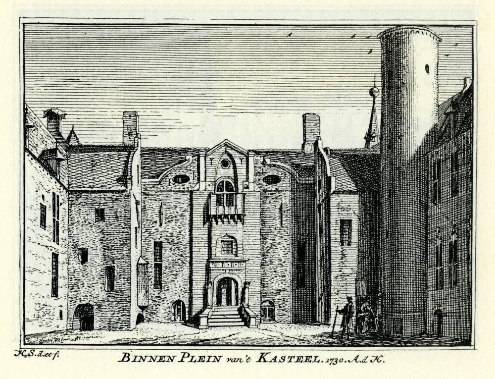 Kasteel Helmond in Helmond. Tekening Abraham de Haen, gravure Hendrik Spilman (Uit: Het Verheerlykt Nederland, Isaac Tirion, 1745/1774)