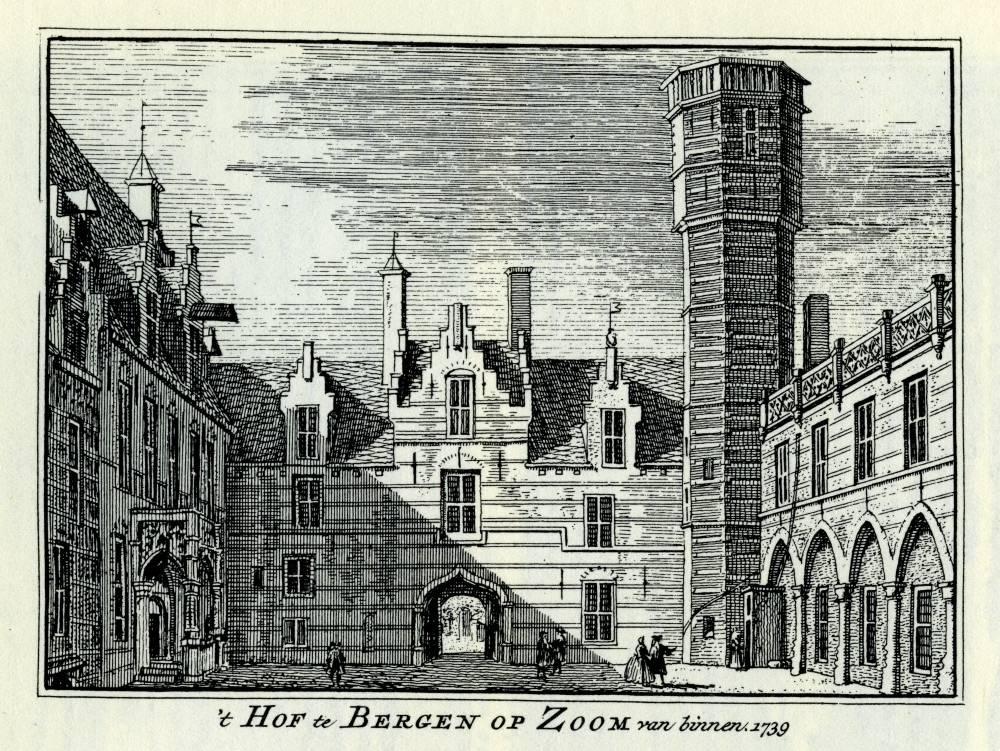 Het Markiezenhof in Bergen op Zoom. Tekening Abraham de Haen, gravure Hendrik Spilman(Uit: Het Verheerlykt Nederland, Isaac Tirion, 1745/1774)