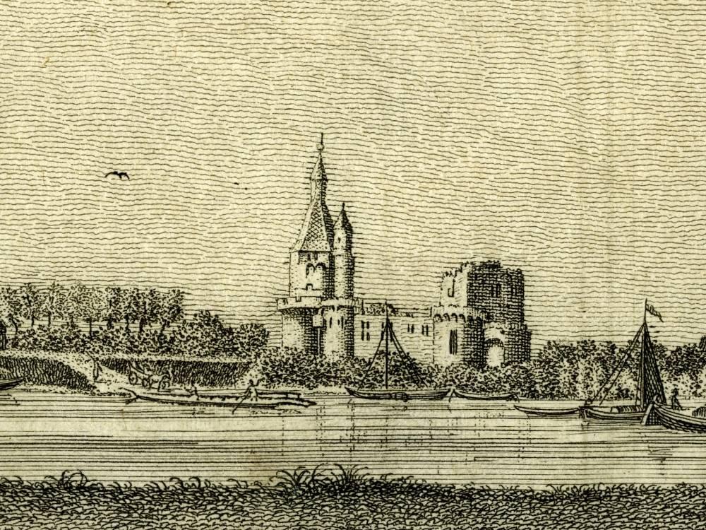 Kasteel Duurstede in Wijk bij Duurstede. Detail uit de volgende prent van Jan de Beijer
