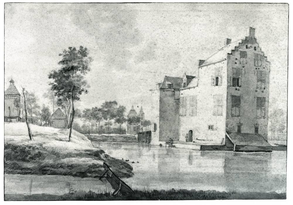 Huis Rijnestein in Jutphaas. Tekening van Roelant Roghman, 1646-1647 (Uit: De kasteeltekeningen van Roelant Roghman, Canaletto, 1989)