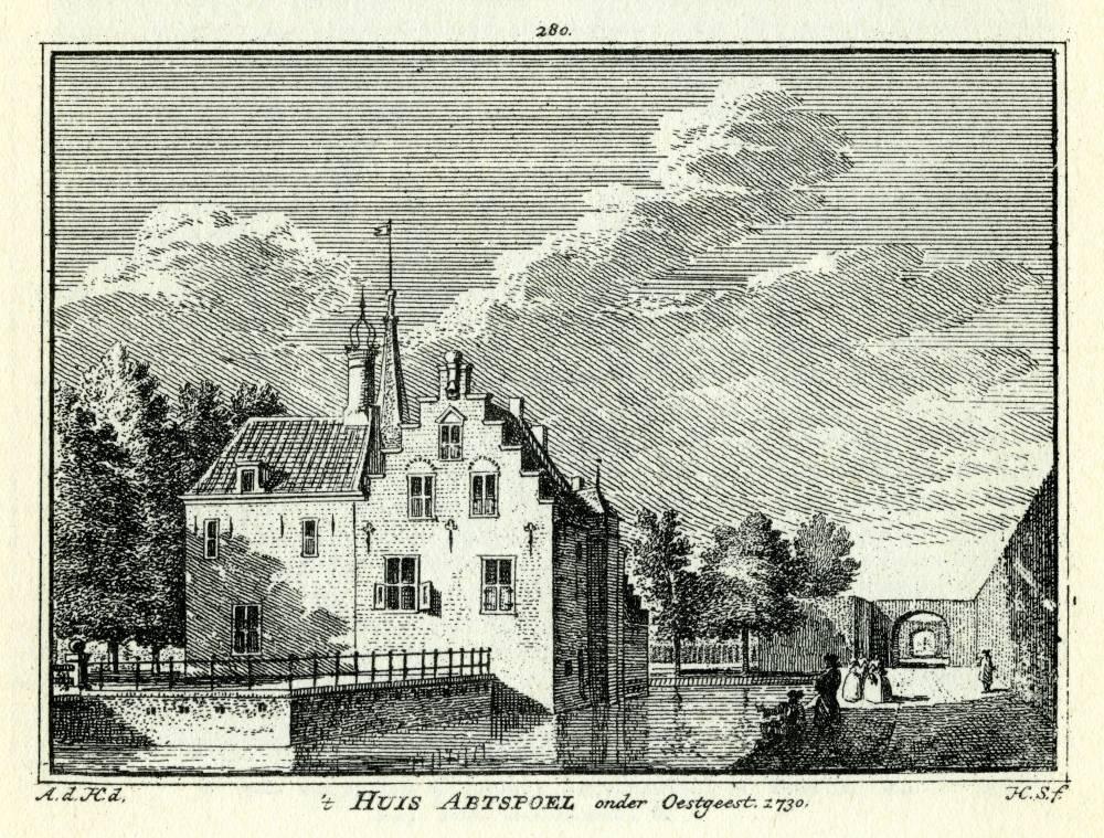 Abtspoel in Warmond. Tekening Abraham de Haen, gravure Hendrik Spilman(Uit: Het Verheerlykt Nederland, Isaac Tirion, 1745/1774)