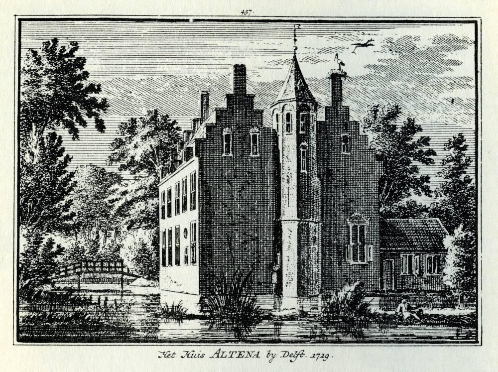 Huis Altena in Delft. Tekening Abraham de Haen, gravure Hendrik Spilman (Uit: Het Verheerlykt Nederland, Isaac Tirion, 1745/1774)