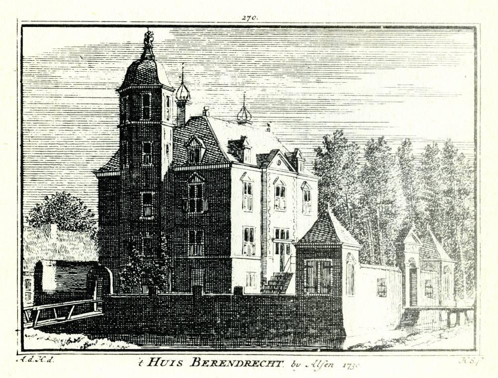 Huis Berendrecht in Alphen a/d Rijn. Tekening Abraham de Haen, gravure Hendrik Spilman(Uit: Het Verheerlykt Nederland, Isaac Tirion, 1745/1774)