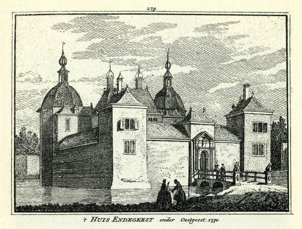 Kasteel Endegeest in Oegstgeest. Tekening Abraham de Haen, gravure Hendrik Spilman (Uit: Het Verheerlykt Nederland, Isaac Tirion, 1745/1774)