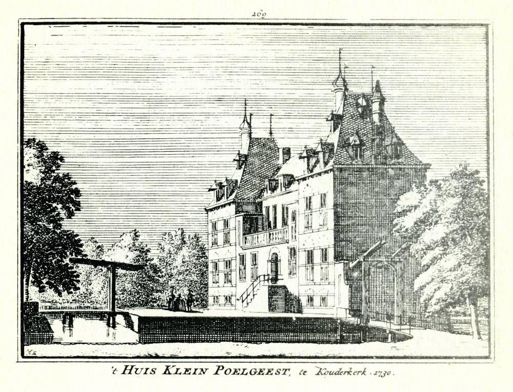 Klein Poelgeest in Koudekerk a/d Rijn. Tekening Abraham de Haen, gravure Hendrik Spilman(Uit: Het Verheerlykt Nederland, Isaac Tirion, 1745/1774)