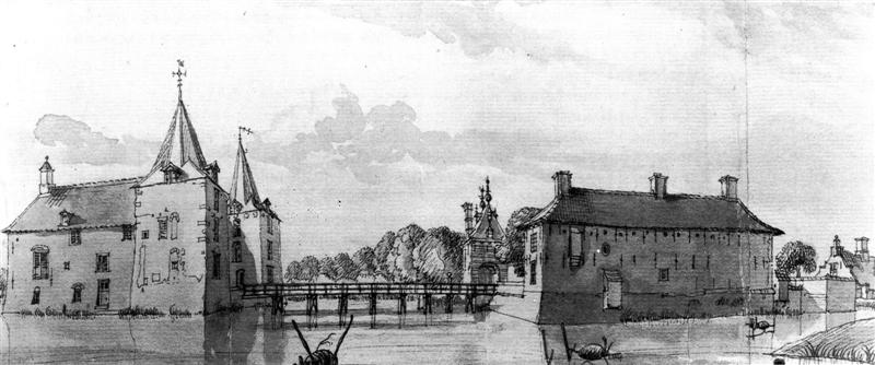 Kasteel Langerak in Langerak. Tekening Jan de Beijer, 1745