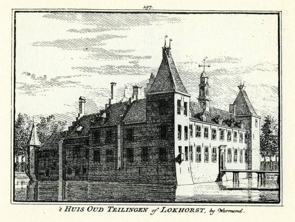 Kasteel Lockhorst in Warmond. Tekening Abraham de Haen, gravure Hendrik Spilman (Uit: Het Verheerlykt Nederland, Isaac Tirion, 1745/1774)