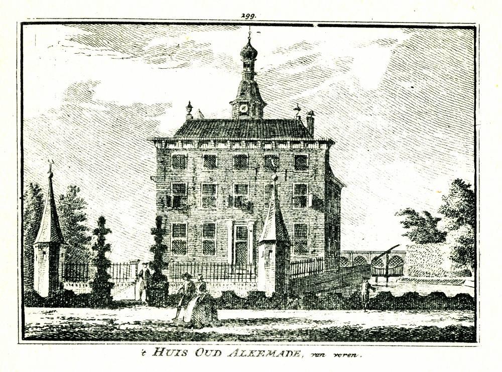 Kasteel Oud Alkemade in Warmond. Tekening Abraham de Haen, gravure Hendrik Spilman (Uit: Het Verheerlykt Nederland, Isaac Tirion, 1745/1774)