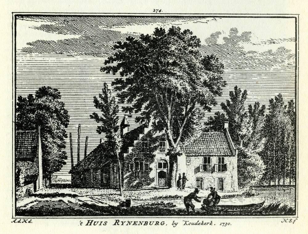 Huis Rijnenburg in Hazerswoude. Tekening Abraham de Haen, gravure Hendrik Spilman (Uit: Het Verheerlykt Nederland, Isaac Tirion, 1745/1774)