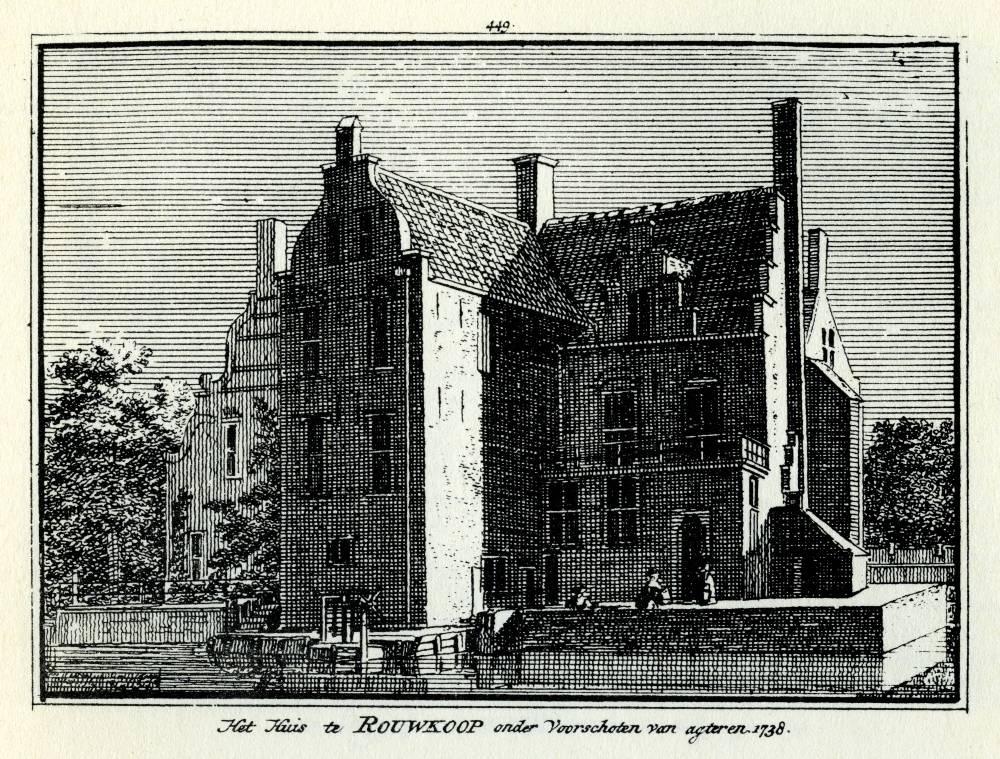 Huis Rouwcoop in Voorschoten. Tekening Abraham de Haen, gravure Hendrik Spilman (Uit: Het Verheerlykt Nederland, Isaac Tirion, 1745/1774)