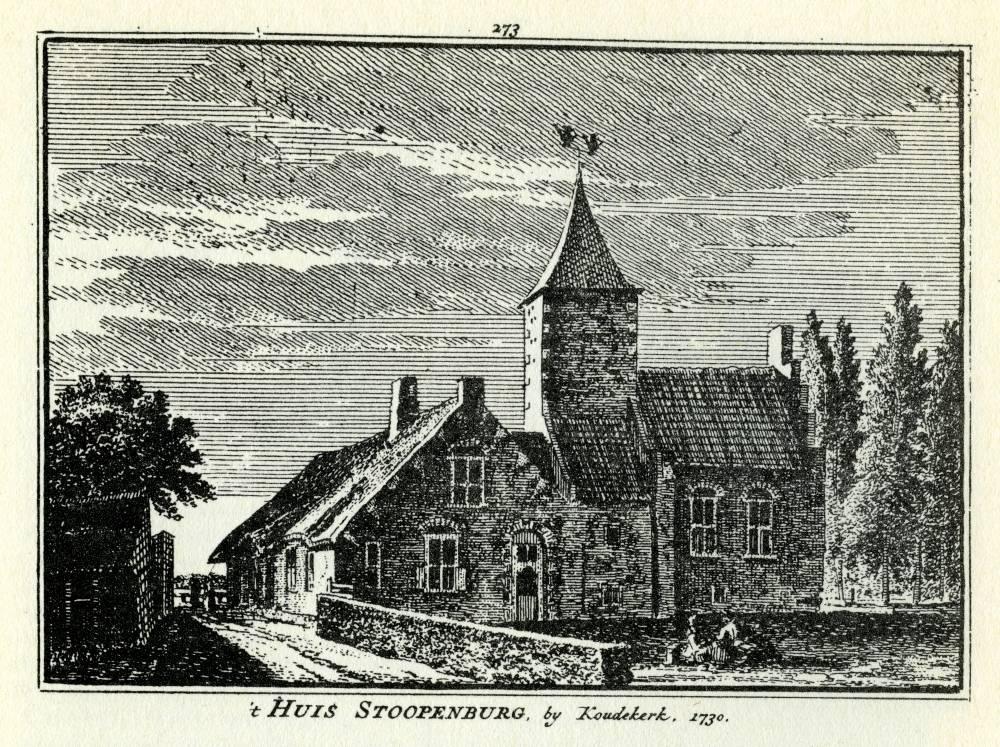 Huis Stoopenburg in Hazerswoude. Tekening Abraham de Haen, gravure Hendrik Spilman (Uit: Het Verheerlykt Nederland, Isaac Tirion, 1745/1774)