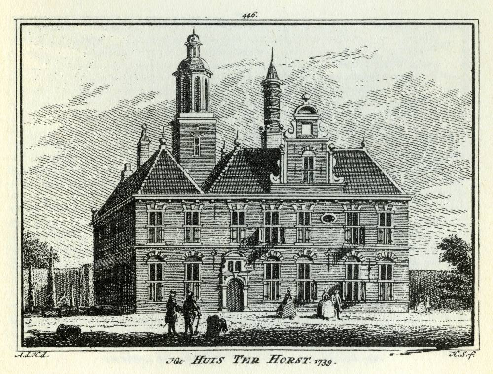 Huis Terhorst in Voorschoten. Tekening Abraham de Haen, gravure Hendrik Spilman (Uit: Het Verheerlykt Nederland, Isaac Tirion, 1745/1774)